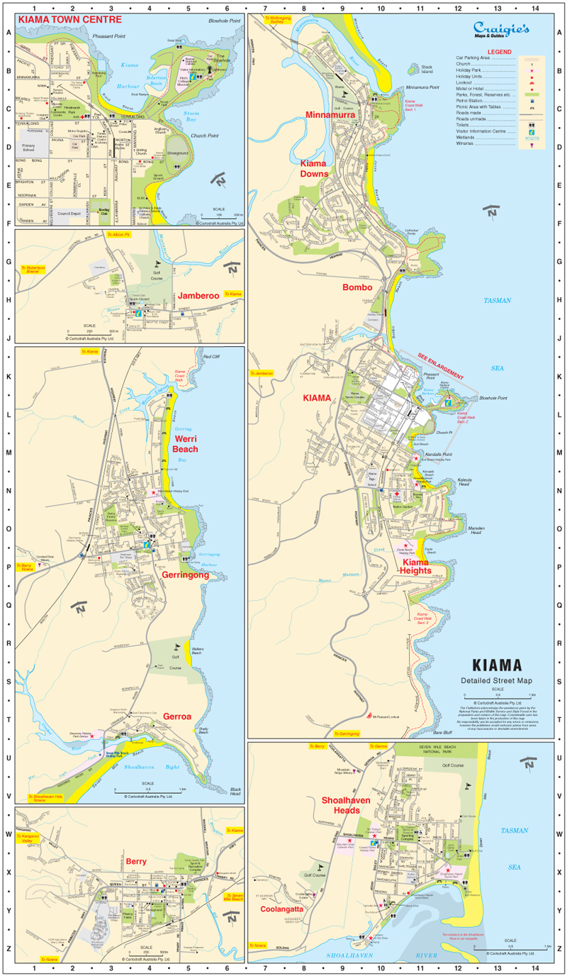 Kiama Gerringong Jamberoo NSW South Coast Maps Craigies