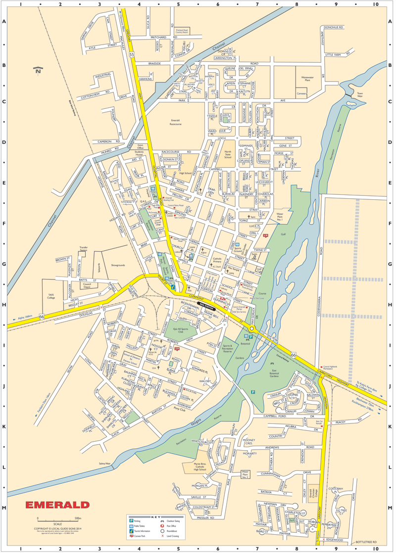 Emerald - Central Highlands - Queensland - Maps - Street