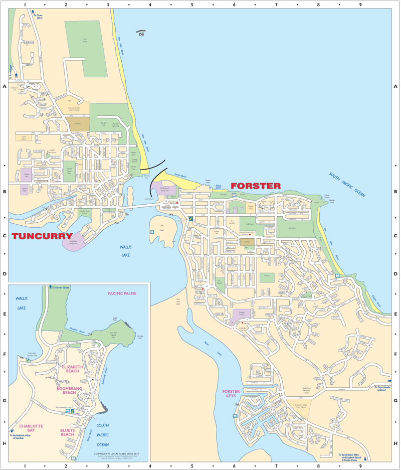 Forster Nsw Map Forster   Tuncurry   Great Lakes   Mid North Coast NSW   Maps  Forster Nsw Map
