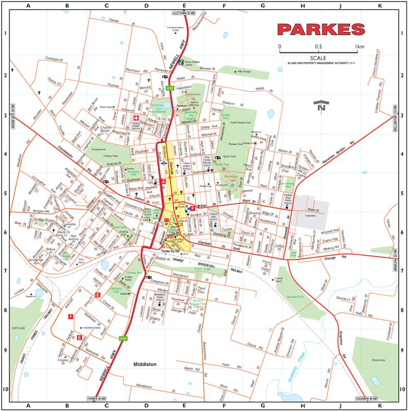 parkes town map
