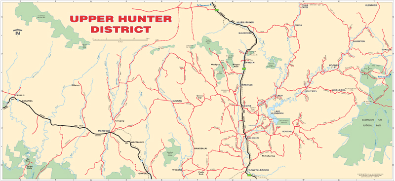 Scone  Aberdeen  Murrurundi  Upper Hunter Valley NSW  Maps
